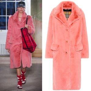 Burberry Runway Pink Faux Fur Long Coat